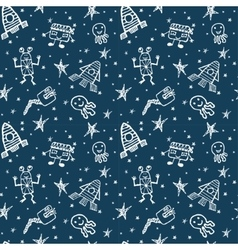 Hand drawn doodles cartoon set of space vector