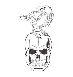 Skull eagle tattoo face design vector