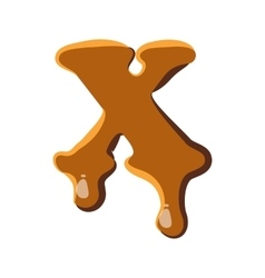 Letter x from caramel icon vector
