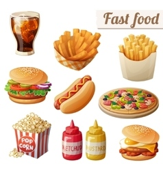 Fast food set of cartoon food icons vector