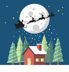 Santa claus and his reindeer sleigh in silhouette vector