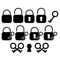 Minimalist key and lock icons vector