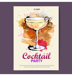 Hand drawn artistic cocktail disco poster vector
