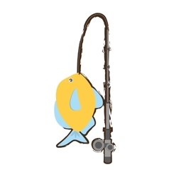Blue and yellow fish variety ocean fishing rod vector