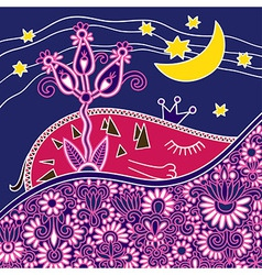hand draw ornate good night abstract composition vector image