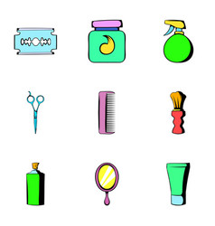 Shaving icons set cartoon style vector