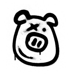 Graffiti pig emoji sprayed in black on white vector
