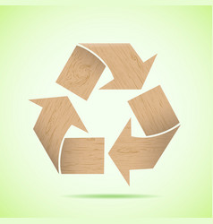 Wooden recycle icon vector