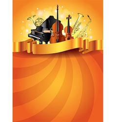 Musical instruments vertical background vector