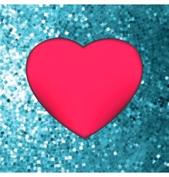 Heart on glitter light valentines day eps 8 vector
