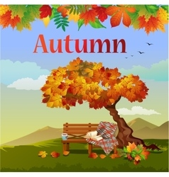Bright autumn postcard vector