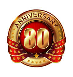 80 anniversary golden label with ribbon vector image vector image