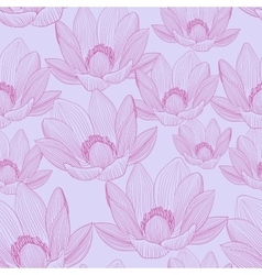 Cute seamless pattern with pink lotus flowers vector