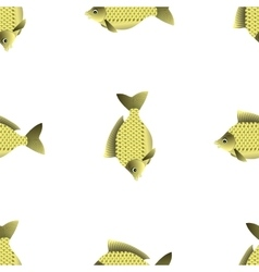 Fresh carp isolated seamless fish pattern vector