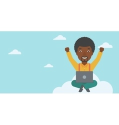 Man on cloud with laptop vector