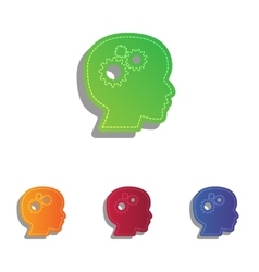 Thinking head sign colorfull applique icons set vector