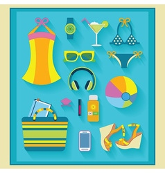 beach and summer accessories set on blue mat vector image vector image