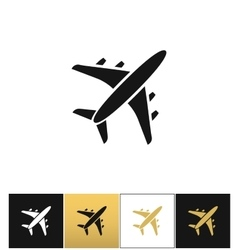 Black air plane silhouette icon vector image