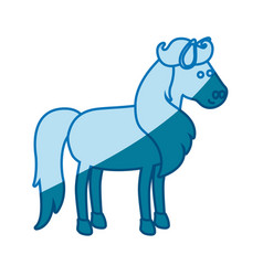 Blue silhouette of horse with mane and tail vector