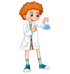 Boy in white coat holding beaker vector image vector image