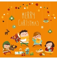 Card with cute kids sweets and christmas presents vector