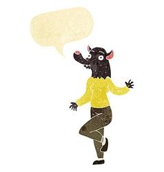 Cartoon dancing werewolf woman with speech bubble vector