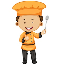 Chef in orange and black outfit vector