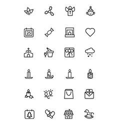 Christmas line icons 3 vector