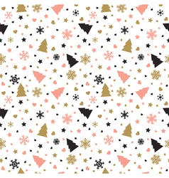 Cute background with Christmas tree snowflakes vector image vector image