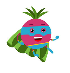 Cute cartoon radish superhero in mask and green vector