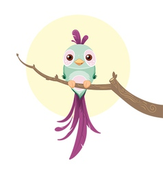 Cute pastel colored bird vector image