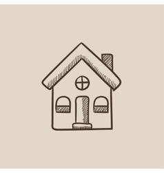 Detached house sketch icon vector