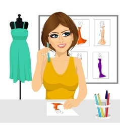 fashion designer thinking concept vector image