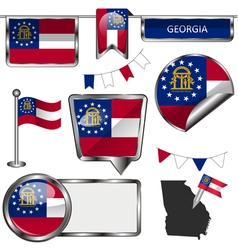 Glossy icons with georgian flag vector