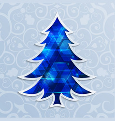 glowing blue christmas tree design elements for vector image vector image