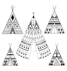 Hand drawn American native five wigwams set with vector image vector image