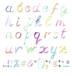 Hand drawn watercolor alphabet vector