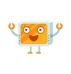 Happy little robot character vector