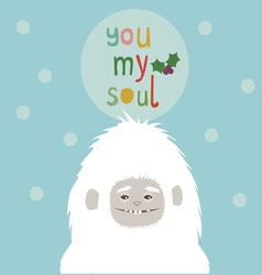 Holiday greetings card with yeti vector