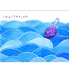 Invitation card with sea waves and purple bottle vector