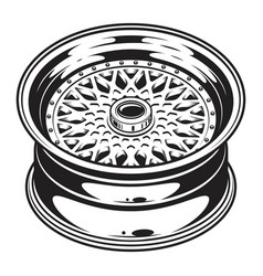 isolated monochrome of car wheel rim vector image vector image