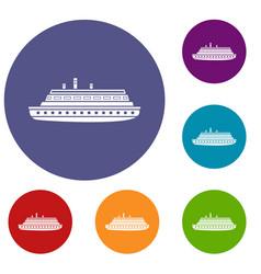 long ship icons set vector image vector image