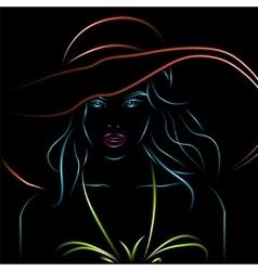 neon girl in bikini and hat on a black vector image