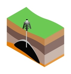 Oil extraction isometric 3d icon vector image