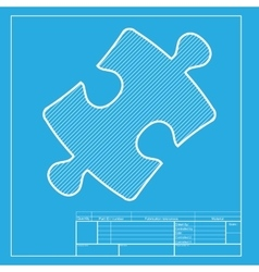 Puzzle piece sign white section of icon on vector
