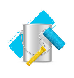 realistic blue roller brush and can vector image vector image