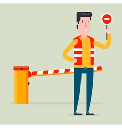Road barrier man vector