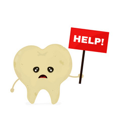 Sad unhealthy sick tooth with nameplate vector