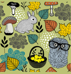Seamless pattern of mushrooms and forest animals vector