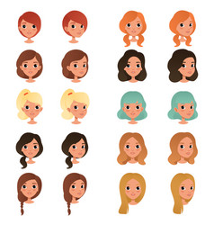 Set of different girl s hair styles and colors vector